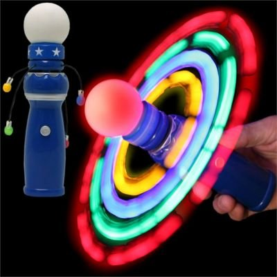 Windy city novelties hand held led light up galaxy spinner for Light up fishing spinners