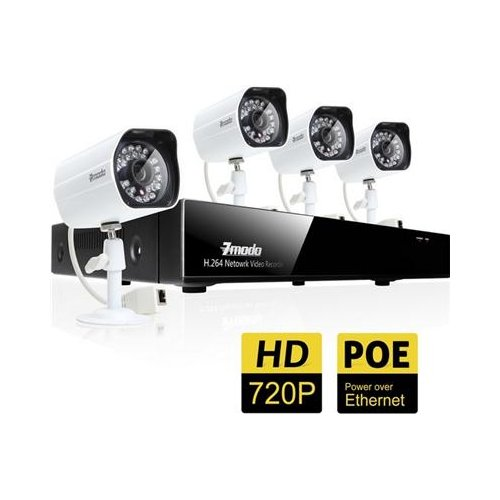 Zmodo 720P 4Ch Full Hd W/Poe Security Surveillance Nvr System With 4 Hd Outdoor/Indoor Day/Night 720P Poe Security Cameras 1Tb Hard Drive Pre-Installed