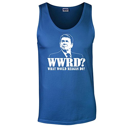 What Would Ronald Reagan Do Funny Gop Rupublican Tea Party Mens Tank Top Royal M