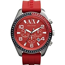 Armani Exchange Chronograph Red Dial Red Rubber Mens Watch AX1252