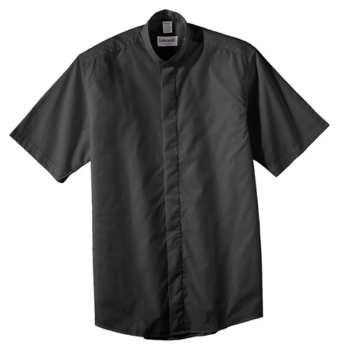 Ed Garments Men'S Big And Tall Short Sleeve Banded Collar Shirt, Black, Xx-Large