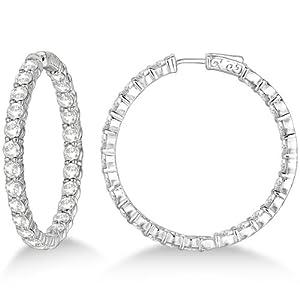 Fancy Prong-Set Large Diamond Hoop Earrings 14k White Gold (10.00ct)