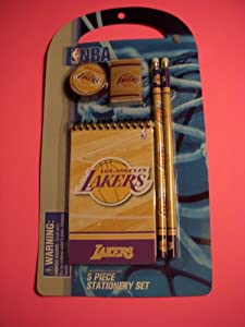 NBA LOS ANGELES LAKERS SCHOOL 5 PIECE STATIONERY SET