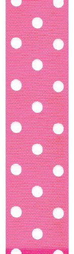 Offray Polka Dot Grosgrain Craft Ribbon, 1-1/2-Inch Wide by 50-Yard Spool, Vibrant Pink