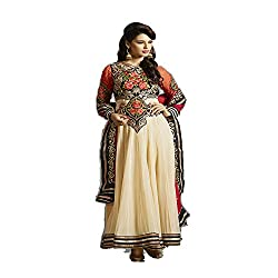 Shenoa Women's Faux Georgette Unstitched Dress Material (9003_Free Size_Biege)