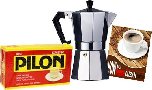 Pilon Cuban Coffee 10 oz and 3 Cup Coffee Maker Combo. Appliances for Home