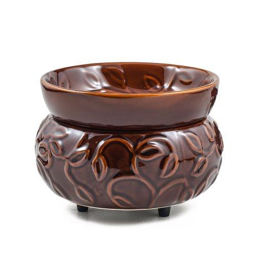 Jkl 2-In-1 Tart & Jar Candle Warmer - Leafy Vine Brown 763438