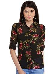Black Flower Print Poly Georgette Shirt