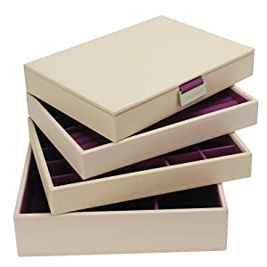 Stackers Jewelry Box Storage System - Cream with Purple Soft Lined Interior - 4 Tray Set By LC Designs of London