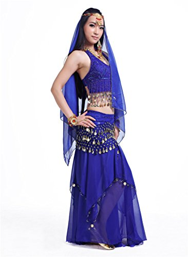 Dreamspell Hot Sexy Dark Blue indian style dancer belly dance suit stage 5PCS