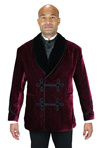 Historical Emporium Men's Vintage Velvet Smoking Jacket L Burgundy