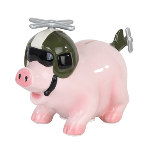 6.50 Inch Ceramic Helicopter Savings Piggy/Coin/Money Bank