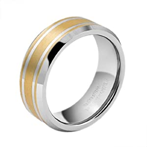Unisex Two Tone Finger Ring 8mm Width Wedding Band US Size 9 Amazoncouk Jewellery