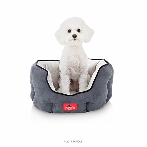 BRINDLE-Washable-Round-Bolster-Dog-Bed-Gray-Microsuede-Pet-Bed