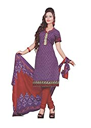FadAttire Cotton Self Design Embroidered Dress Material-Purple-FALI02