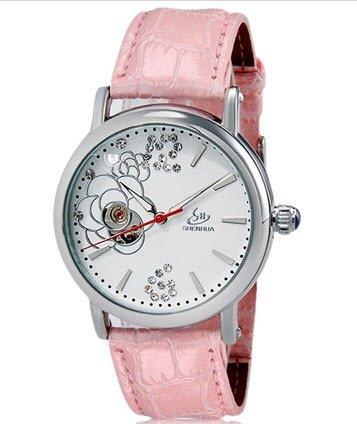 SH Women's Crystal Decorated Flower Print Round Analog Automatic Wind Watch with White Stainless Steel Case & Faux Leather Strap (Pink) M. (Ebel Type E compare prices)