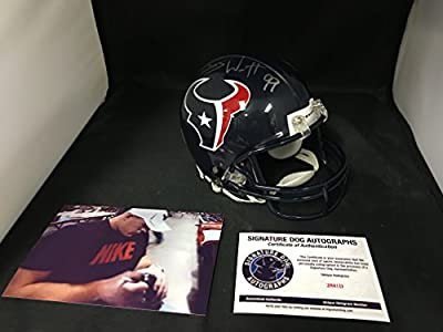 JJ Watt Signed Autographed Houston Texans Mini Helmet With Custom Decals BCA Breast Cancer Ribbon and more On Helmet COA & Hologram W/Photo From Signing