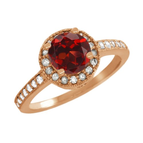 1.30 Ct Round Red Garnet White Sapphire Rose Gold Plated Sterling Silver Ring