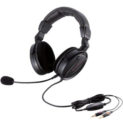 【Amazonの商品情報へ】ELECOM ヘッドセットマイクロフォン 両耳オーバーヘッド 1.8m ゲーマー向け ブラック HS-HP13BK