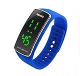 KANO BAK Mens Boy Girl Lady Fashion Sport Running Casual Digital LED Gift Silicone Watch Watchs Blue