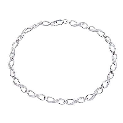 Ariel 9ct White Gold Diamond Set Fig 8 Link Bracelet