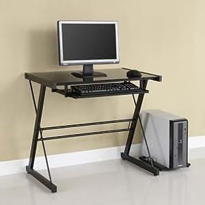Glass Metal Black Computer Desk