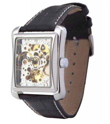 Ouyawei Men'S Silver Dial Retangle Shell Black Leather Strap Mechanical Watches