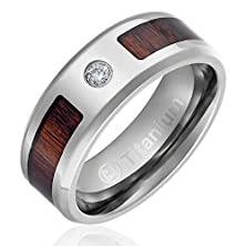 buy 8Mm Comfort Fit Titanium Wedding Band | Engagement Ring With Dark Wood Inlay | Round Cut Cz Center Stone And Beveled Edges [Size 11]