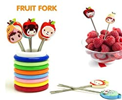 Rings Designer Fruit Fork Stand Colors and Design May Vary.