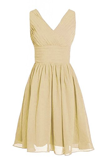 MyProm Women's Straps Short Chiffon Bridesmaid Dress Party Dress Champagne XXXL