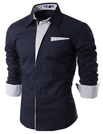 Doublju Mens Dress Shirt with Contrast Detail NAVY S (DS41)