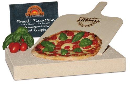 Pimotti Pizzastein - 5 cm Dicke mit Pizzaschaufel und Rezepten thumbnail