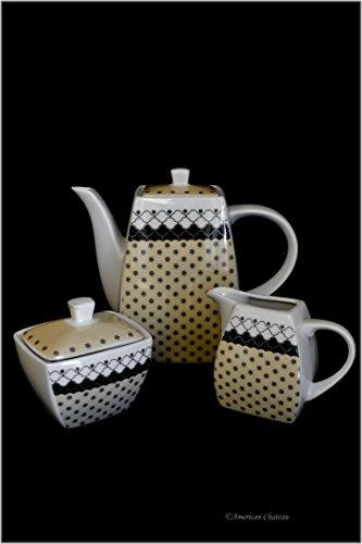 Fine Porcelain Florentine Ornate 3pc Teapot Creamer & Sugar Jar Tea Coffee Set (Creamer Coffee Pot compare prices)