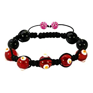 Pugster Fad Macrame Bling Jewelry Bright Red Evil Eye Beads Adjustable Shamballa Bead Bracelet