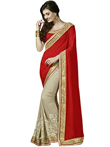 Melluha Red Crepe Chiffon Heavy Border Embroidered Half And Half Designer Sarees