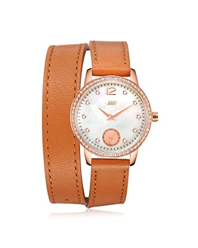 JBW Women's J6324A Savannah Diamond & White Mother-of-Pearl Rose/Brown Leather Watch