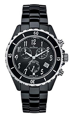 GROVANA - 4001.9187 - Montre Mixte - Quartz Analogique - Chronographe - Bracelet Céramique Noir