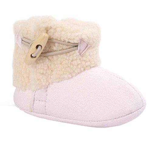Kingko® carina bambino molli soli scarponi da neve scarpe culla morbidi stivali bambino scarpe inverno del bambino (0~6 mesi, rosa)