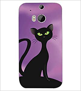 HTC ONE M8 BLACK CAT Designer Back Cover Case By PRINTSWAG