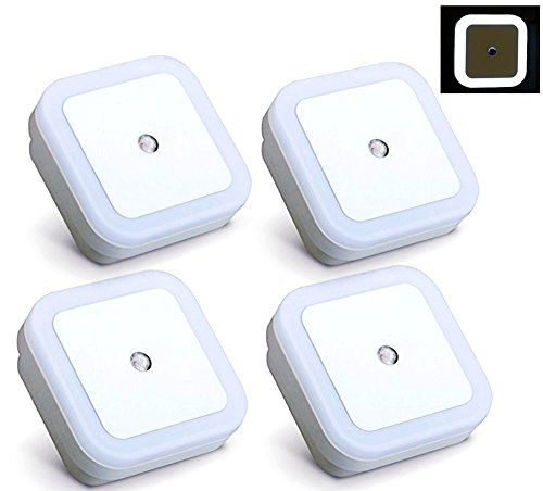 【4 Pack】Elecrainbow® 0.5W Plug in LED Sensor Night Light, Automatic Dusk to Dawn Sensor, White (Overhead Plug In Light compare prices)