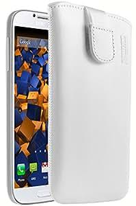 mumbi ECHT Ledertasche Samsung Galaxy S4 Leder Tasche Etui (Lasche mit Rückzugfunktion) weiss