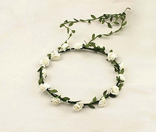 Rustic Wedding Flower Girl Halo Crown Flowers Leaf Headpiece Headband Garland Wreath for Hair Accessories Festival Boho Hippy Head Band Bohemian Style (White)