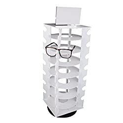Imported Rotating White Plastic 28 Pairs Glasses Sunglasses Display Rack Organizer