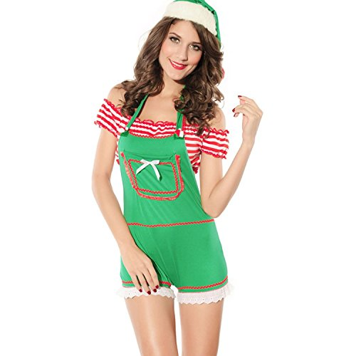 L04BABY X-mas Women's Sexy Jumpsuit Butterfly Punky Santa Costume