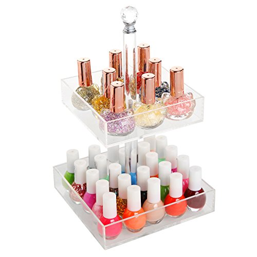 Rotating Clear Acrylic 2 Tier Nail Polish Rack / Cosmetics Organizer / Jewelry Display Stand - MyGift® (Nail Polish Jewelry compare prices)