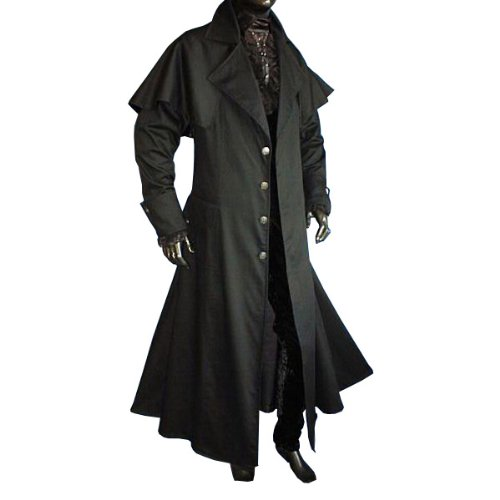 Mens Gothic Medieval LARP Long Coat, Black - S