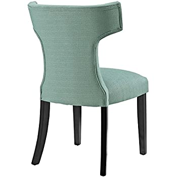 Modway Curve Mid-Century Modern Upholstered Fabric Dining Chair With Nailhead Trim In Laguna