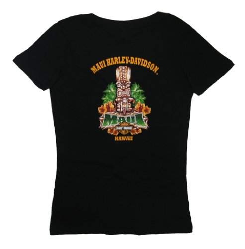 Maui Harley-Davidson Women's Tiki Guy Black Short Sleeve V-Neck T-Shirt - XL