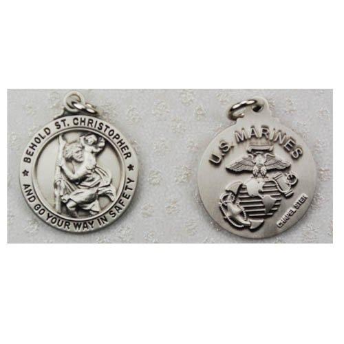 Mens Sterling Silver Military Marines Saint Michael Patron Saint Medal Pendant Necklace