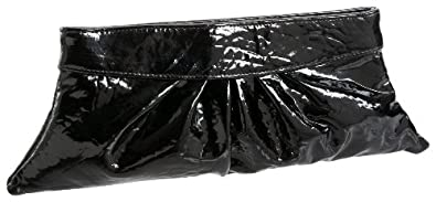 Lauren Merkin Louise Patent Leather Hinged Frame Clutch,Black,one size